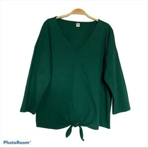 Old Navy Long Sleeves Tie-front Green Women Blouse